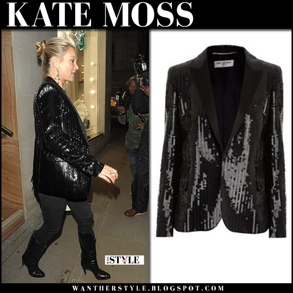 Kate Moss in black sequin jacket saint laurent, black jeans and boots fashion model november 21