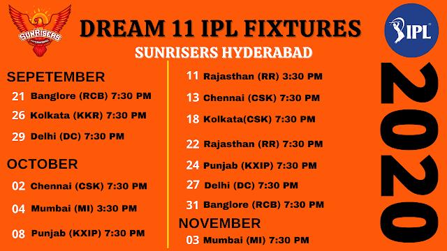 Sunrisers Hyderabad Dream11 IPL 2020 Fixtures