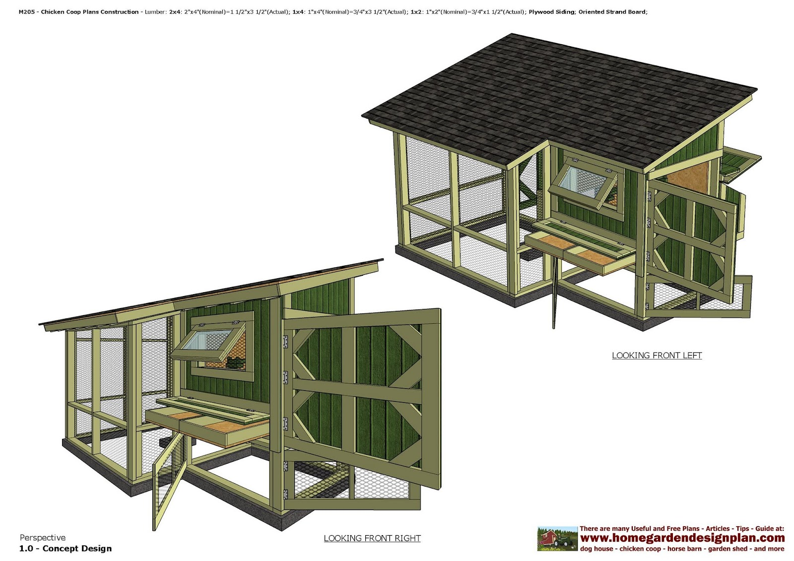 Home garden plans m205 chicken coop plans construction for Plans chicken coop