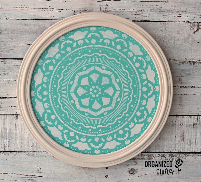 Round Vintage Frame Upcycled As Mandala Wall Decor #mandala #stencil #frameideas #bohodecor #dixiebellepaint