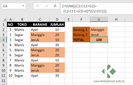 Contoh OR Statement pada Array Formula Excel