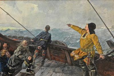 Oslo peinture norvégienne Christian Krohg : Leif Erikson découvre l'Amérique (saga islandaise)