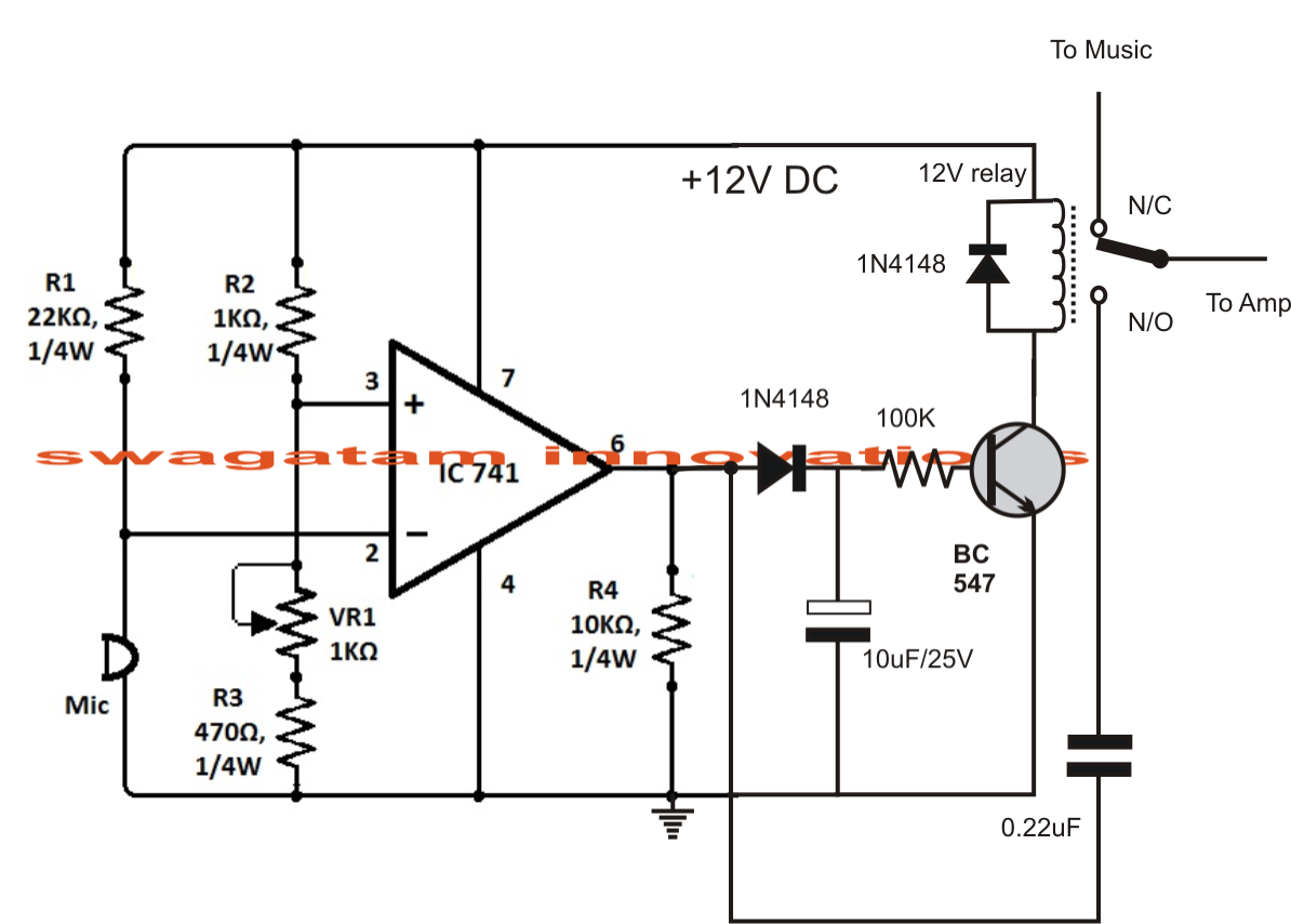 Sound Activated Automatic Amplifier Mute Circuit | Circuit