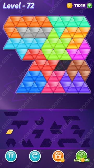 Block! Triangle Puzzle Champion Level 72 Solution, Cheats, Walkthrough for Android, iPhone, iPad and iPod