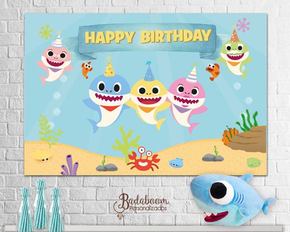 Baby Shark, tubarão, painel, arte digital, festa, infantil, para imprimir, personalizado