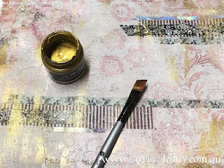 dry brushing with gold paint art layers for the Childrens Clothing Collage by Jenny James