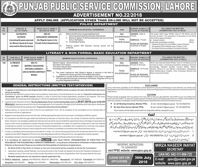 PPSC Jobs in Punjab July 2018