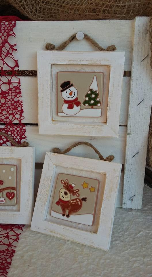 Ceramica come mestiere natale piccoli quadri con - Decorazioni per la casa natalizie ...