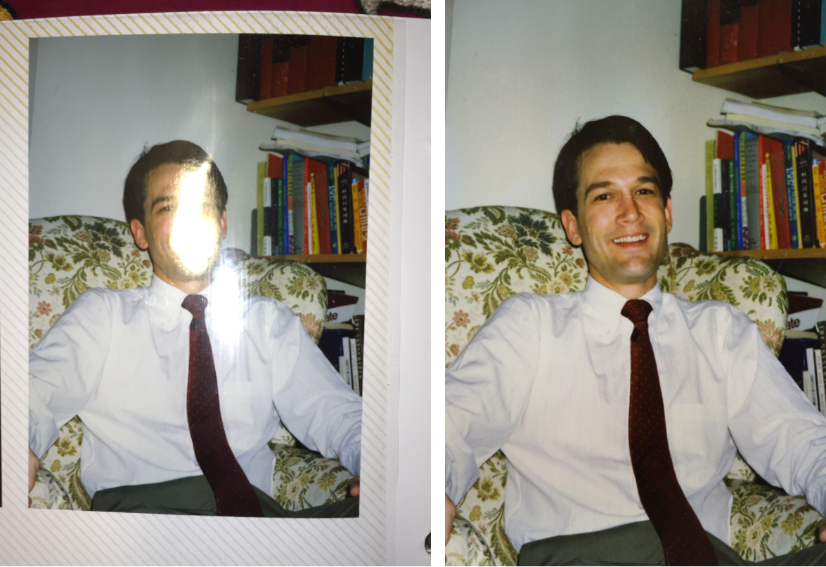 681e0c5e116 Left  A regular digital picture of a physical print. Right  Glare-free  digital output from PhotoScan