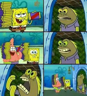 Polosan meme spongebob dan patrick 33 - coklat, spongebob dan patrick di kejar maniak coklat