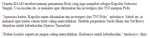 Panglima TNI Jendral Gatot Nurmantyo  : Anggota TNI Yang Tertembak Brimob Gugur Sebagai Syuhada - Commando