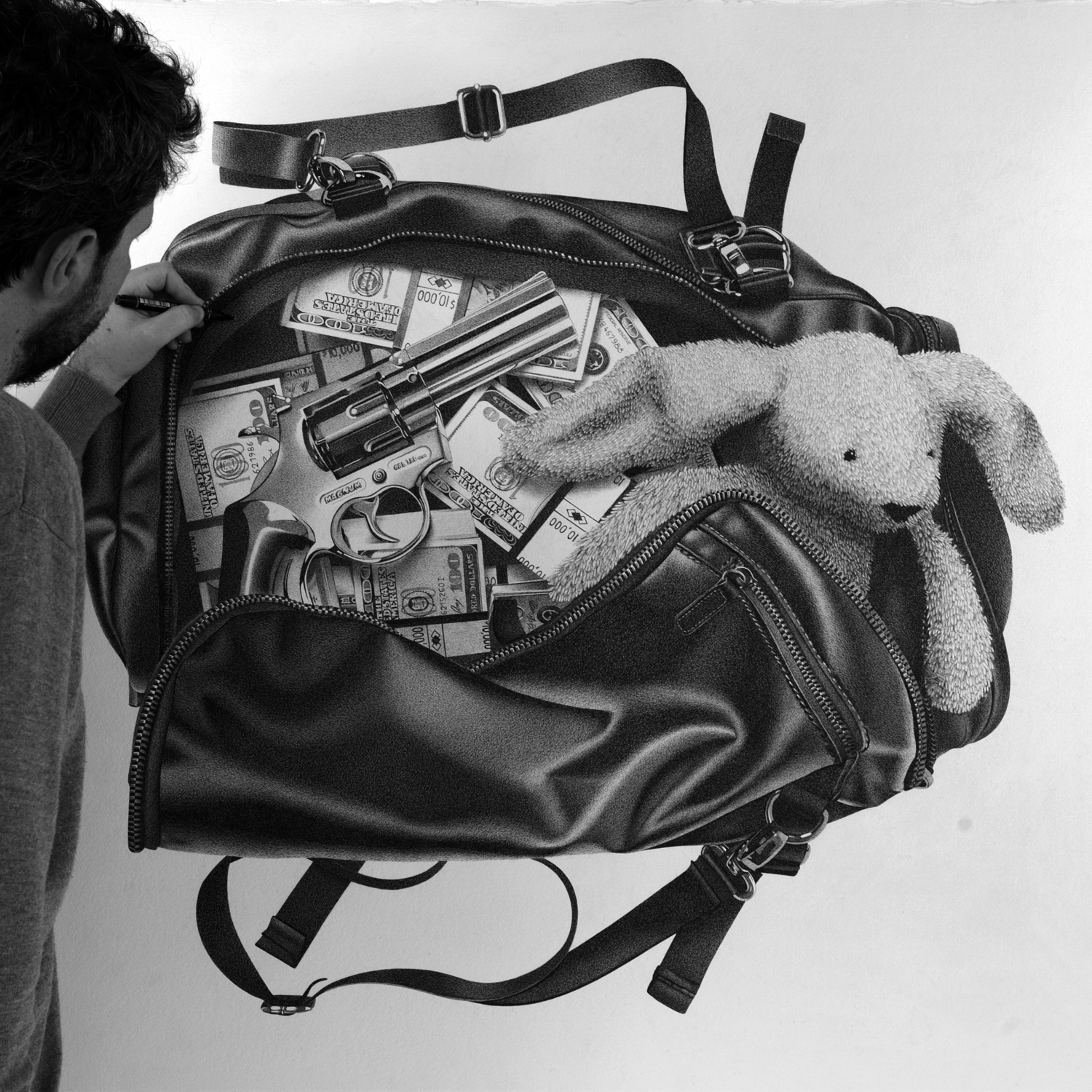 02-Money-Bag-Alessandro-Paglia-Photo-Like-Black-and-White-Drawings-www-designstack-co