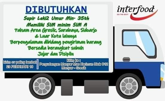 lowongan kerja sopir interfood surabaya