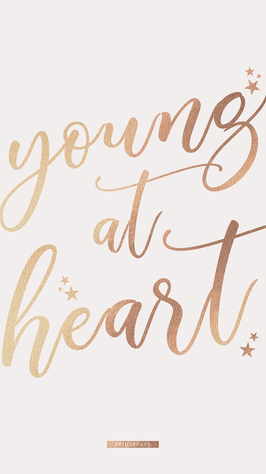 """Text on grey background """"Young at Heart"""""""