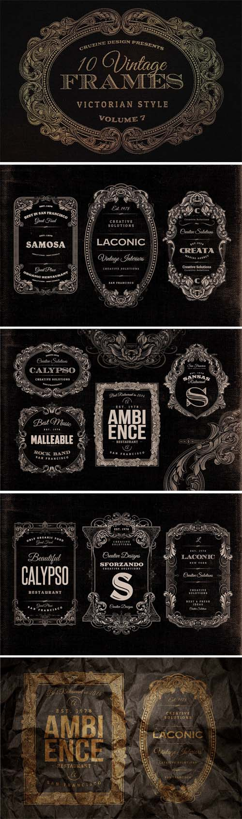 Vintage Frames Victorian Ornament Style
