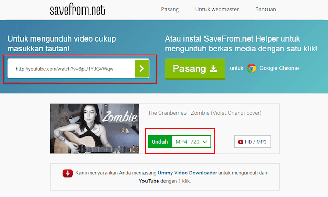cara download video youtube pakai savefrom