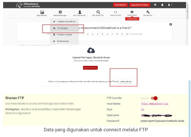 Cara Upload Website di 000webhost, cara upload file ke website, cara upload website, cara membuat website