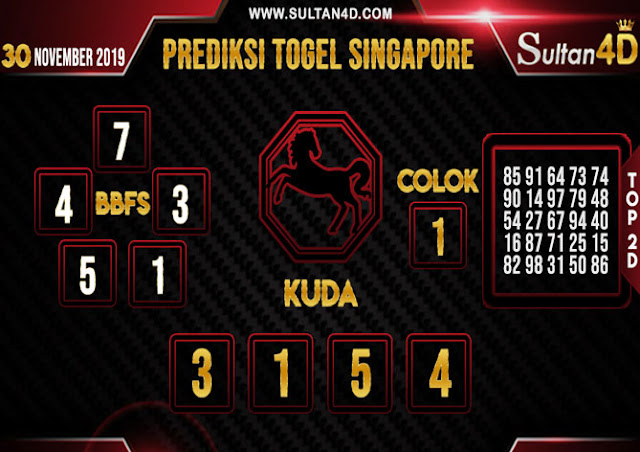 PREDIKSI TOGEL SINGAPORE SULTAN4D 30 NOVEMBER 2019