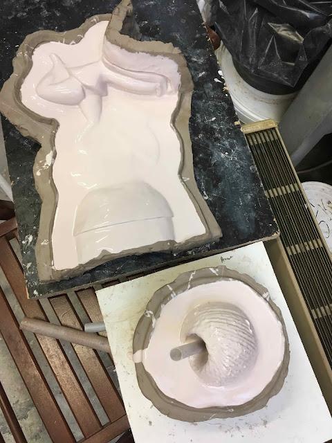 Brigitte Rio, moulage, plâtre, mold, plaster, head