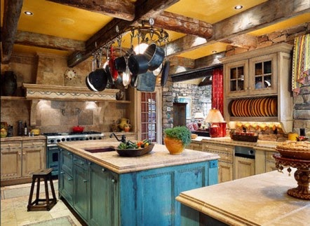 kitchen ceiling with exposed beams