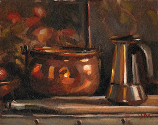Still life oil painting of a coffee percolator beside a copper pot
