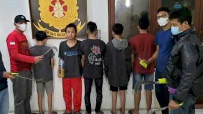 Tim Elang Polsek Tembalang Semarang Bekuk Lima Remaja Pembawa Sajam