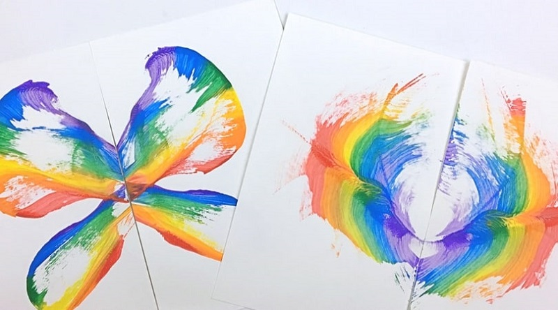 rainbow string painting art