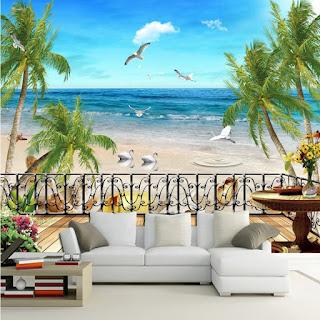 Gambar wallpaper dinding 3d pemandangan
