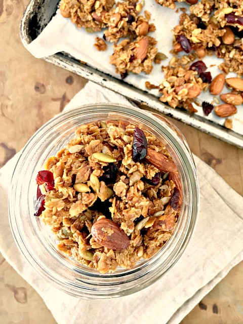 Cranberry Almond Granola Bites: This recipe is a cross between granola and a granola bar. A simple baking technique helps the granola stay clumped together so you can break it into clusters, which makes it great for nibbling.