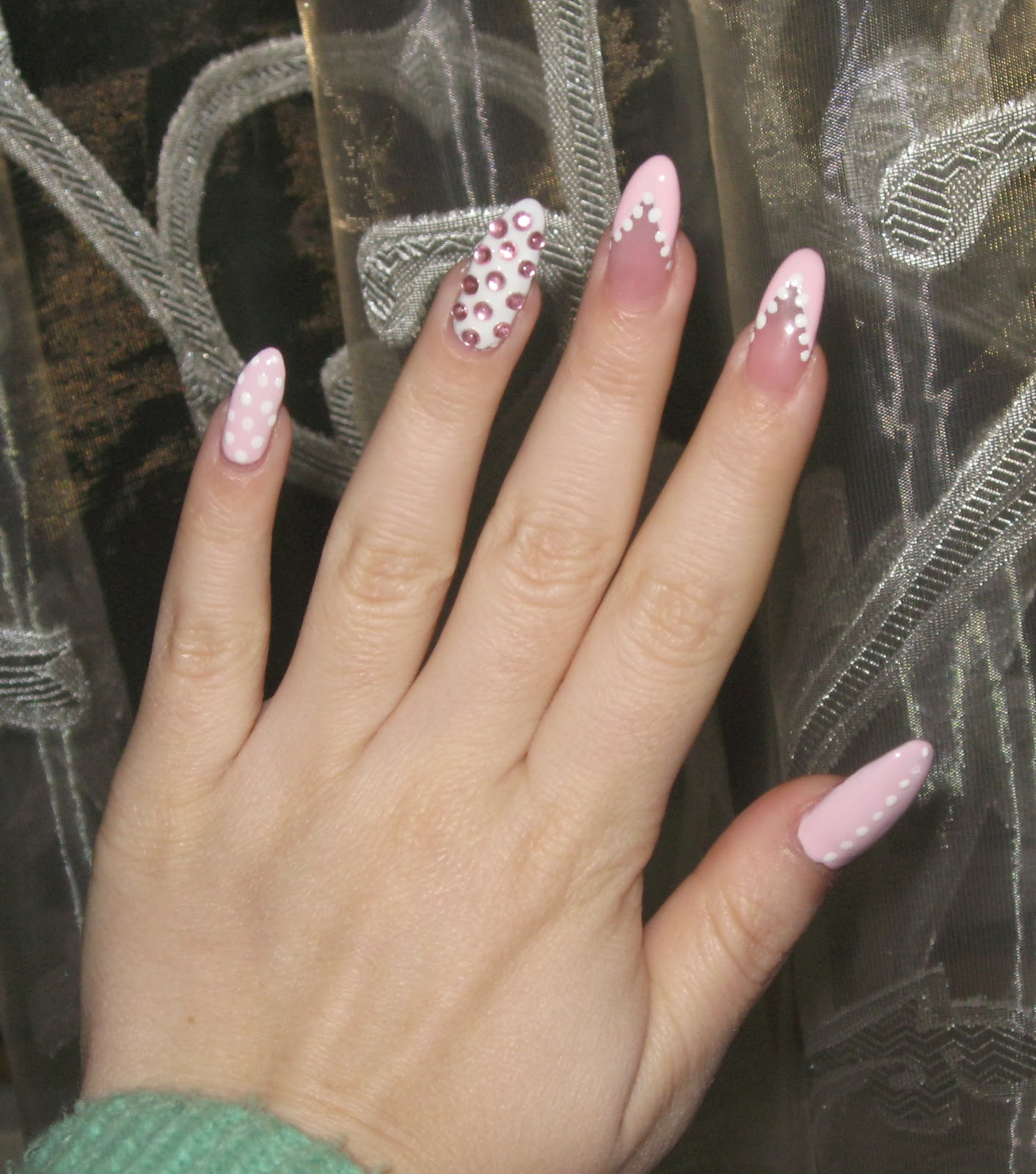 stiletto nail white dots