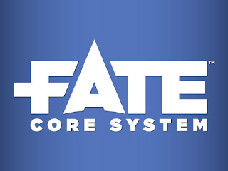 The Logo for the Fate Core System, which is the word 'Fate' in large stylized block letters, with the A rising higher than the other letters, in white on a blue gradient background, with the words 'Core System' in smaller white block letters underneath.