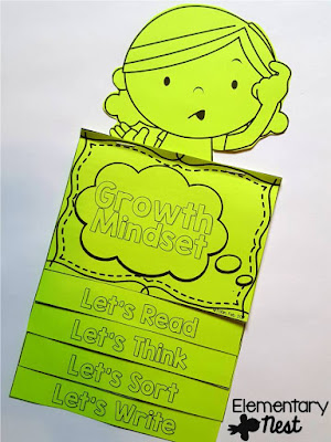 FREE flip book for growth mindset- Growth Mindset lessons and activities- teaching kids about growth mindsets- blog post with free activities and ideas