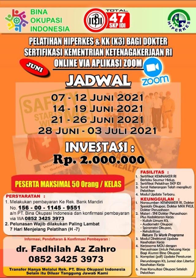 (MASIH BISA MENDAFTAR 7-12 Juni 2021)  Pelatihan Hiperkes Dokter 2021