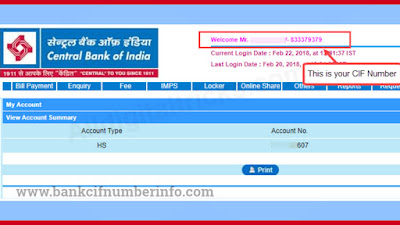 Central Bank Balance Check by Net banking