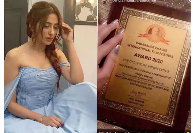 the most fashionable contestant of Bigg boss 13, Mahira Sharma forging a certificate, Mahira Sharma controversy Dadasaheb Phalke, dpiff Mahira Sharma forging a certificate, Dadasaheb Phalke International Film Festival