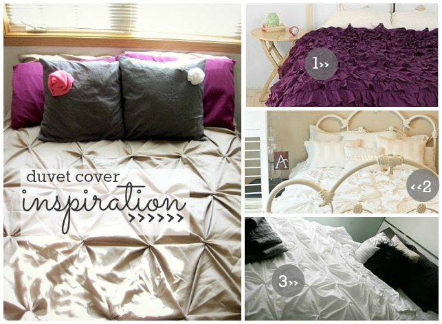 pin-tucked, ruffled, and knotted duvets