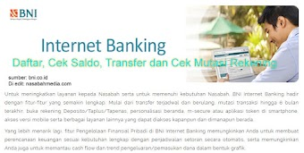 Internet Banking BNI, Daftar, Cek Saldo, Transfer dan Cek Mutasi Rekening