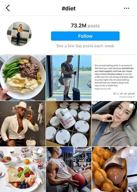Diet hashtags for Instagram