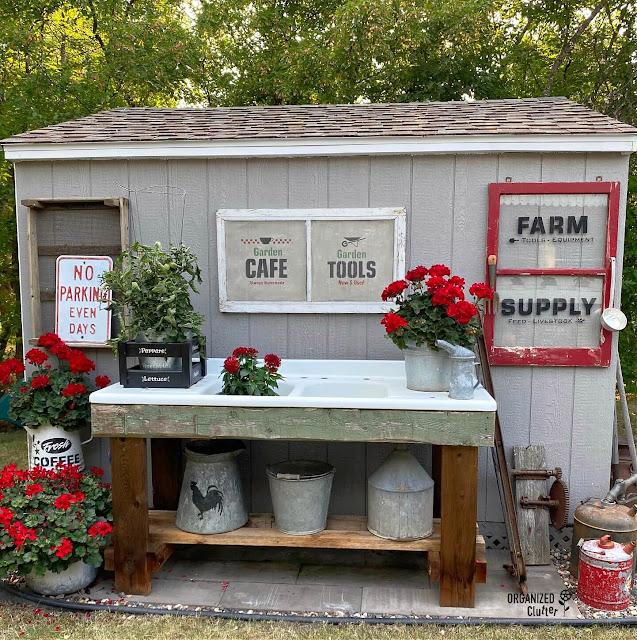 Foto do meu galpão de jardim decorado com sucata de fazenda e gerânios vermelhos