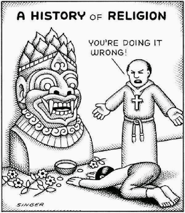 History of religion cartoon picture - You're doing it wrong.