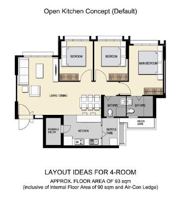 4 room bto floor plan bomb shelter in kitchen