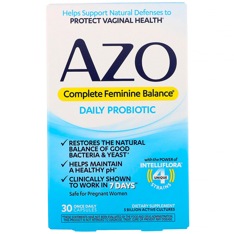 Azo, Complete Feminine Balance, ежедневный пробиотик для женщин, 30 капсул для приема один раз в день