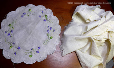 Society Silk Violets: The new version of the Society Silk violets centrepiece is cut free from its surrounding fabric