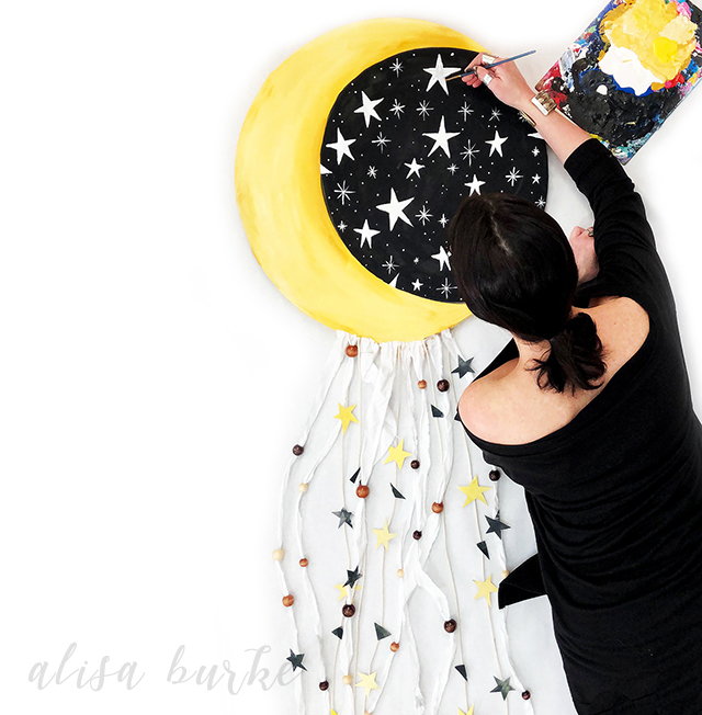 moon and stars wall hanging