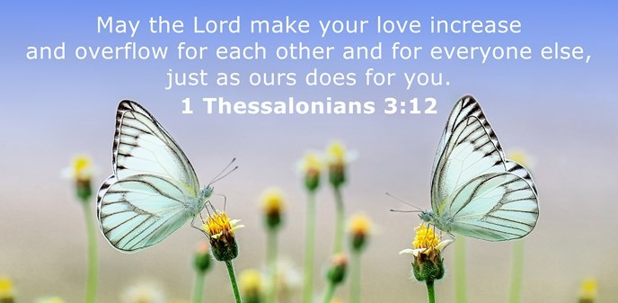 May the Lord make your love increase and overflow for each other and for everyone else, just as ours does for you.