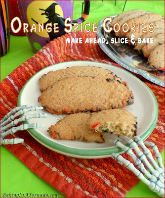 Orange Spice Cookies (make ahead, slice and bake) are perfect for any occasion, just change the color of the sprinkles along the edges. | Recipe developed by www.BakingInATornado.com | #recipe #cookies