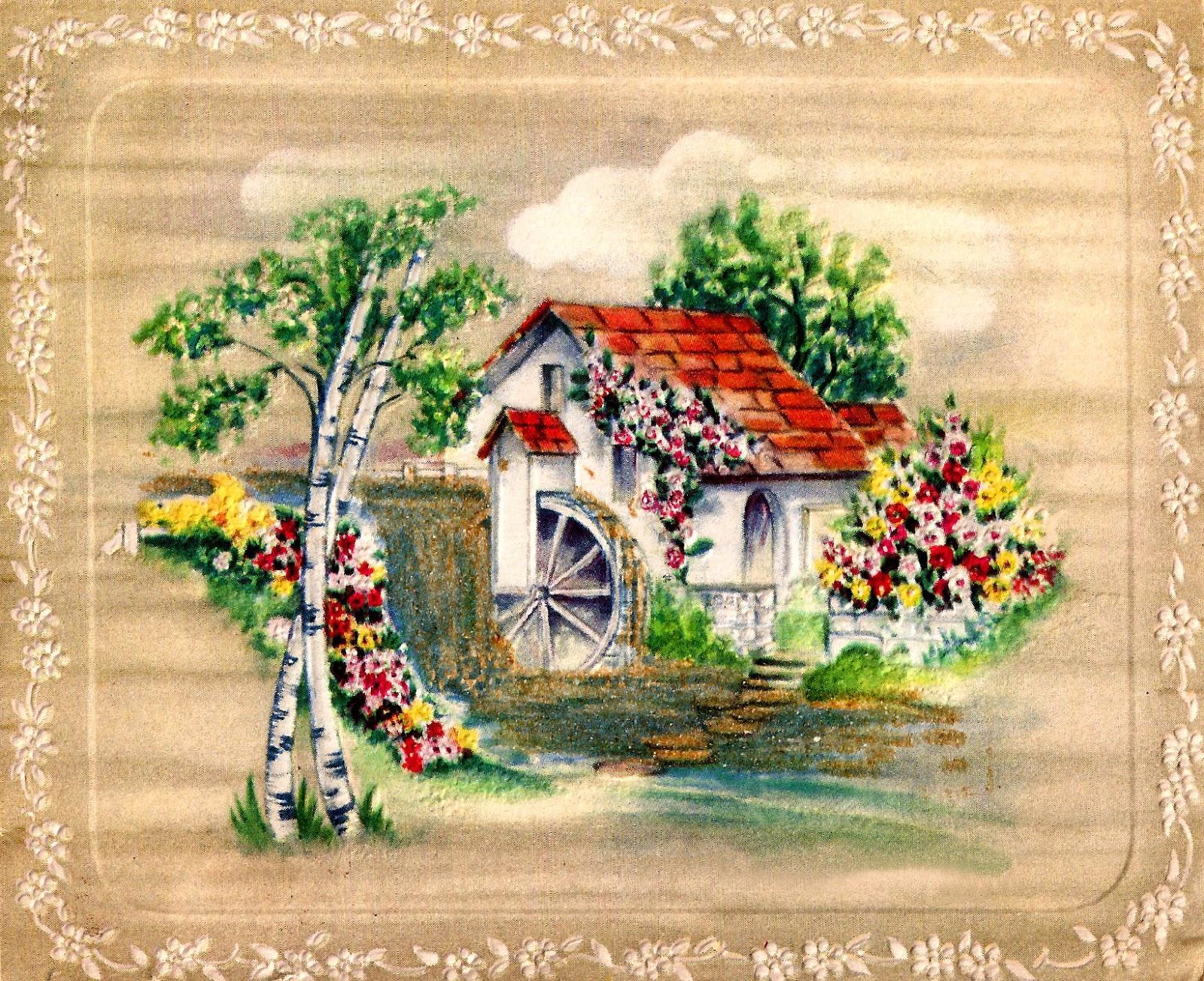 printable house flower element digital countryside