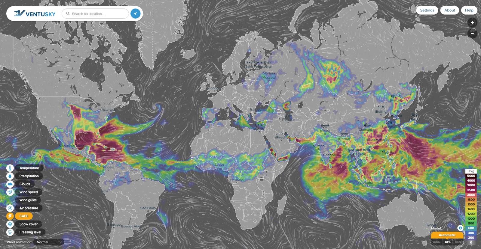 Вероятность образования штормов