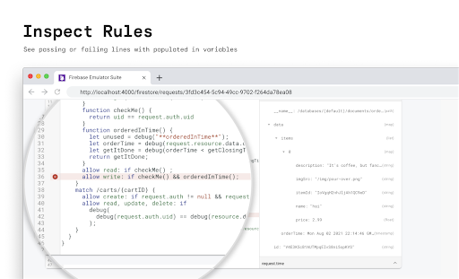 Image of Firestore Emulator Suite Inspect Rules code snippet with text saying Inspect Rules. See passing or failing lines with populated in variables