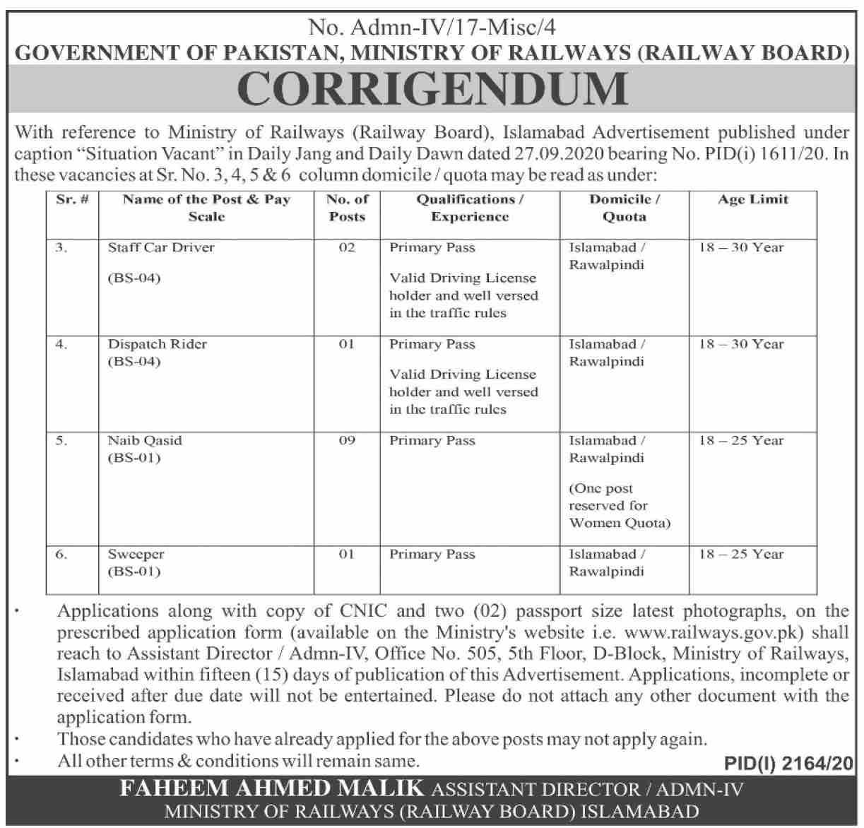 Pakistan Railways Latest Jobs Advertisement For Male and Female in Pakistan